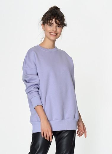 Loves You Şardonlu Loose Fit Basic Sweatshirt Lila